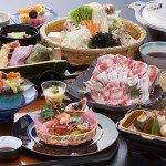 【夕食】鹿児島に来たならぜひ一度♪「黒豚しゃぶ会席(一例)」豚の甘味が美味しい一品です。(例)