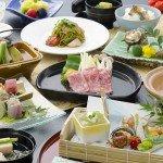 夏の和会席。夏の食材も盛り込んだグレードアップ料理(例)