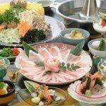 【夕食】鹿児島に来たならぜひ一度♪「黒豚しゃぶ会席(一例)」豚の甘味が美味しい一品です。