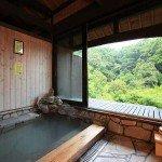 【風呂】窓の外には緑の絨毯・・・良質の硫黄泉が身体に染みる貸切家族風呂が好評/完全貸切制家族風呂